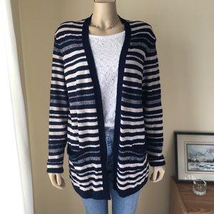 ZARA Navy & Tan Striped Open Cardigan, Medium